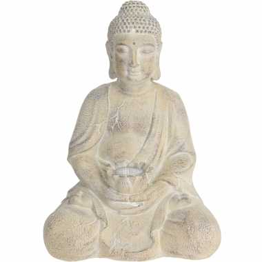 1x boeddha tuinbeeld creme met solar verlichting op zonne-energie 44 cm tuinbeeldje