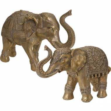 2x olifanten dieren tuinbeelden antiek goud 27 en 36 cm tuinbeeldje