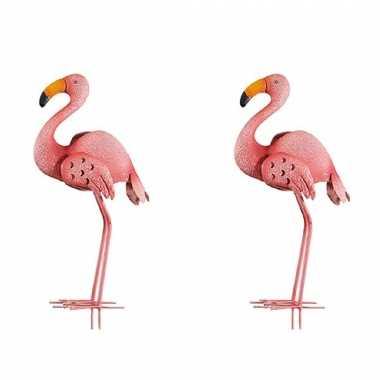 2x stuks dierenbeeld flamingo vogel 47 cm tuinbeeld steker tuinbeeldje