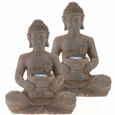 2x stuks solar lamp boeddha beelden bruin / grijs 28 cm tuinbeeldje