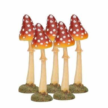 5x decoratie paddenstoel vliegenzwam 12 cm tuinbeeldje
