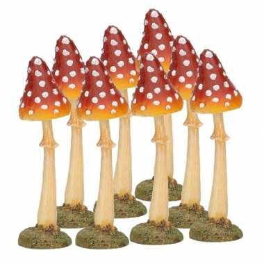 8x decoratie paddenstoel vliegenzwam 12 cm tuinbeeldje