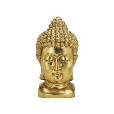 Beeld boeddha hoofd goud 47 cm tuinbeeldje