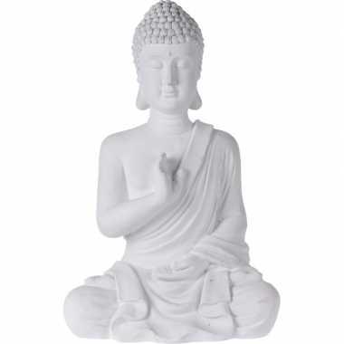 Boeddha beelden/tuinbeelden zittend wit 54 cm tuinbeeldje
