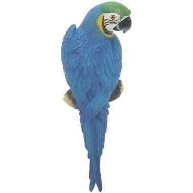 Dierenbeeld blauwe ara papegaai vogel 31 cm tuinbeeld hangdeco tuinbe