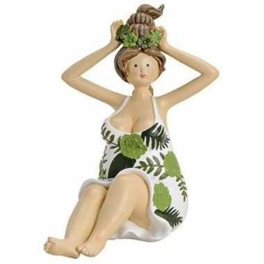 Dikke dame beeldje groen wit jurkje 16 cm tuinbeeldje
