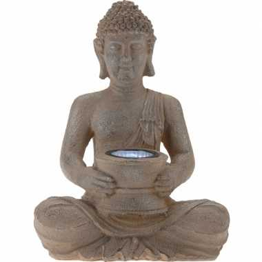 Solar lamp boeddha bruin / grijs 28 cm tuinbeeldje