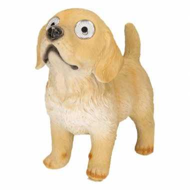 Solar tuinbeeldje hond beige labrador 26 cm