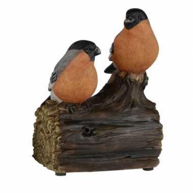 Vogel tuinbeeldje goudvinkjes met geluid 11 cm