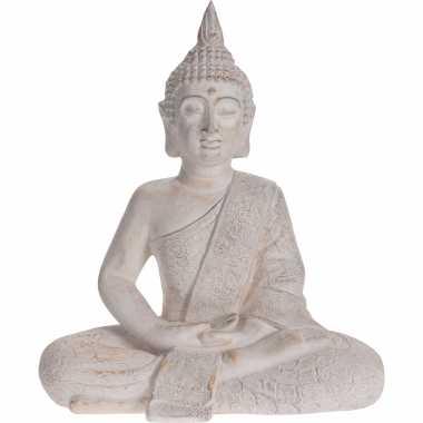 Zittend boeddha tuinbeeld antiek creme 62 cm tuinbeeldje