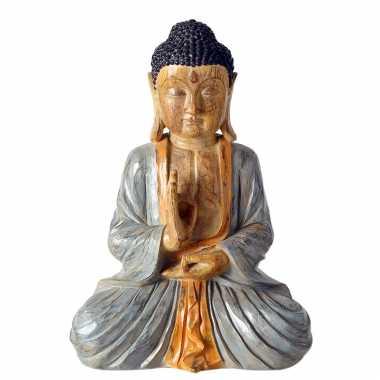 Zittend boeddha tuinbeeld gekleurd 50 cm tuinbeeldje