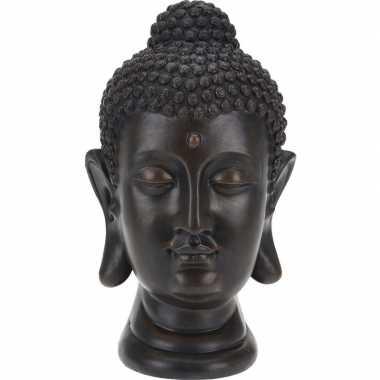 Zwart boeddha beeld 31 cm tuinbeeldje